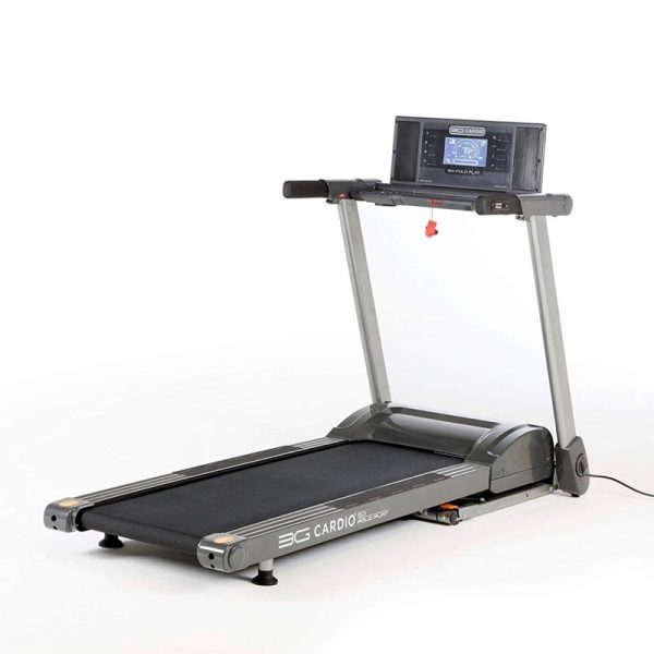 80i 3G Cardio Deluxe Fold Flat / Fold Up Treadmill On White Background